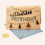 Papyrus Birthday Card Metallic Tassel Banners