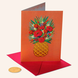 Papyrus Birthday Card Pineapple Floral on Orange
