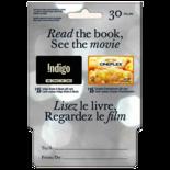 Indigo and Cineplex Gift Card - $30