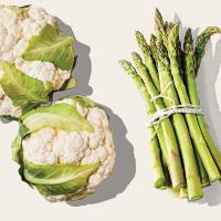 Seasonal vegetables cauliflower and asparagus