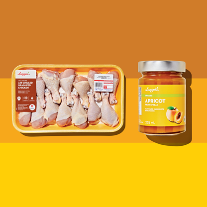 Longo's products shot overhead, including Longo's Apricot Jam and Longo's Air-Chilled Grain-Fed Chicken drumsticks.