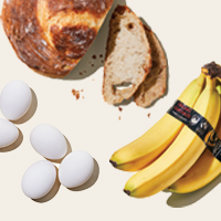 Image of bread, eggs and bananas